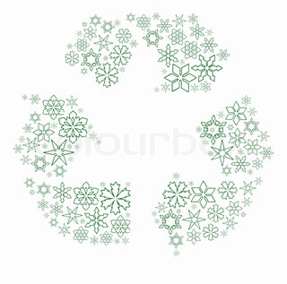 Snow flakes composed in recycle symbol