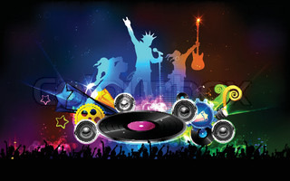 illustration of background for Disco Jockey Party Night