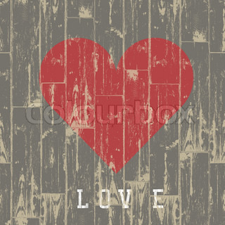 Heart in wood Valentine's day concept Vector, EPS10