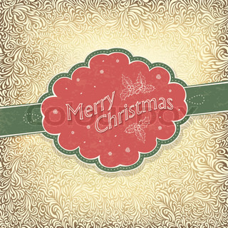 Merry Christmas vintage card with snowy pattern Vector illustration, EPS10