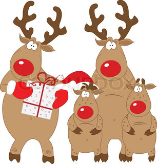 Reindeer and his family, Christmas characters, vector, isolated