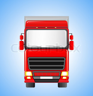 moving shipping truck silhouette on blue sky background