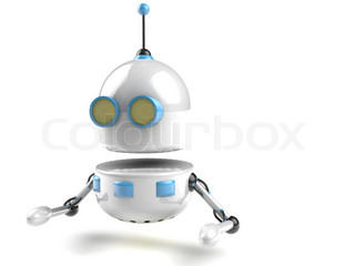 A funny and simple White 3D robot on white stock photo