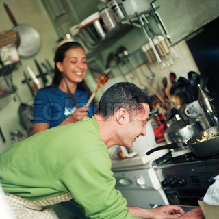 Image of 'cooking, couple, kitchen'