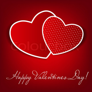 Happy Valentines Day card with heart Vector illustration