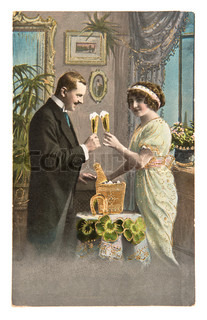 young couple celebrated with champagne