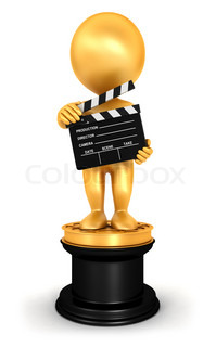 3d white people golden oscar, isolated white background, 3d image