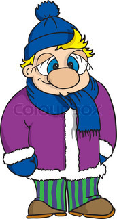 portrait of fun boy dressed with winter clothes