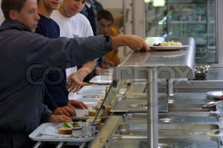 Student taking food in canteen at university