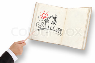 woman's hand with the pencil drawing the dream home on notebook