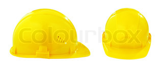 two different views of yellow safety hard hat isolated with clipping path included