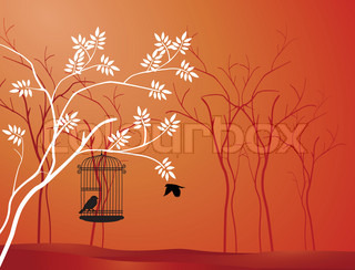 illustration flying bird with a love for the bird in the cage
