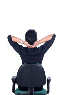 Rear View, Tired business woman stretching