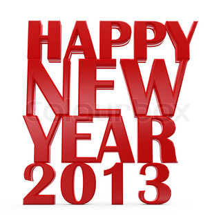3D happy new year 2013 text