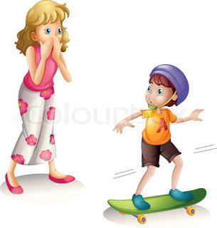 mother and skateboarding son
