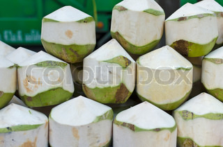Coconut , peeled coconut ready to drink