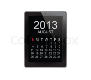 2013 Calendar Tablet on white