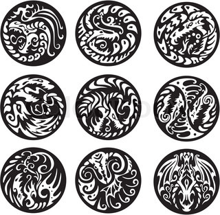 Set of black and white vector emblems