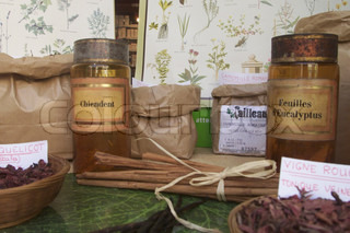 View of herbal medicines at a market