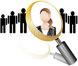 Search Employee Icon for Recruitment Agency Magnifier with Businesswoman vector illustration