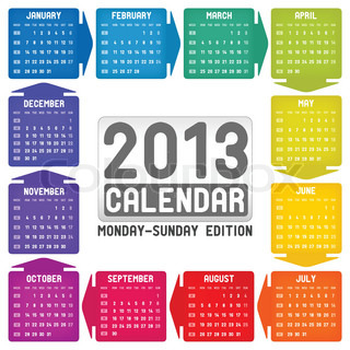 Vector colorful calendar 2013