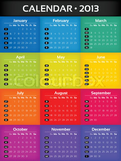 Colorful Card Calendar