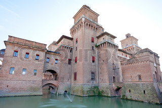 moat and Castello Estense in Ferrara,