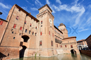 moat and The Castle Estense in Ferrara in sunny day