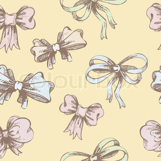 Vector illustration of Vintage hand-drown bow pattern