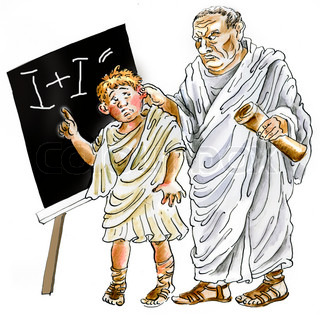Ancient Roman Teacher punishing negligent schoolboy