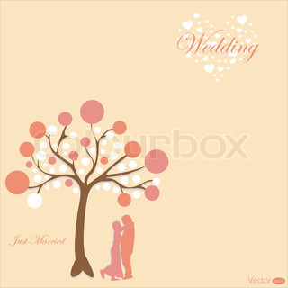 wedding card with groom and bride under the tree on pink background
