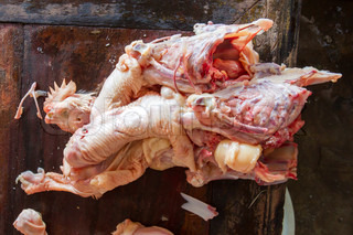 Chopped chicken on a market in Dong Hoi