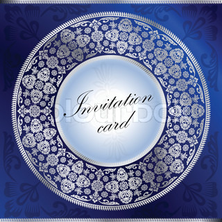 Blue invitation card with rounded ornament motif
