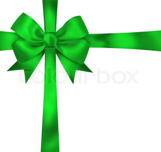 Gift green ribbon and bow isolated on white background Illustration