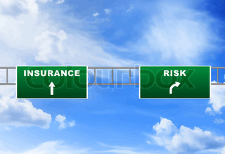 Road Signs To Insurance And Risk Graphic Stock Photo