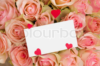 greeting card with hearts on roses