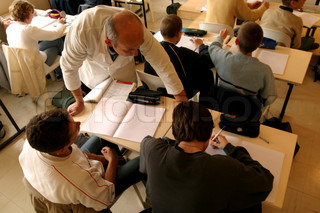 High angle view of professor teaching in classroom
