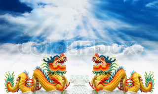 Chinese dragons statue with cloud and sky