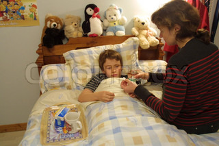Image of 'bed, child, sick'
