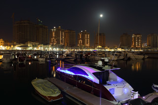 Porto Arabia marina at night Doha, Qatar Middle East
