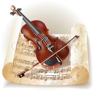 Classical violin with notes in retro style