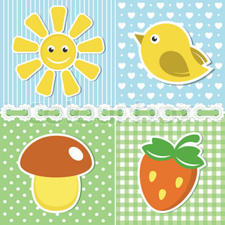 Summer icons of flower, strawberry, sun and bird on textile backgrounds