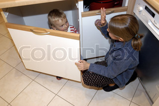Image of 'kitchen, boy, kids'