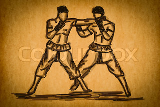 Free hand sketch Thai Boxing Collection : Muay Thai martial art popular around the world