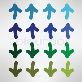 Blue and green hand drawn arrows