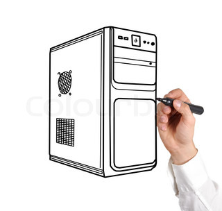 hand drawing computer system unit on a white background