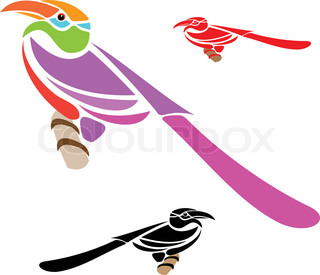 Vector illustration of Hornbill on white background