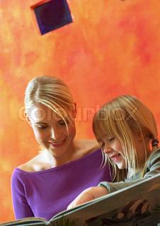 Billede af 'læsende, barn, mor'