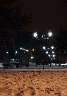 park in Nikolaev at winter night