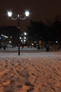 lanterns in park at winter night